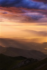 Preview iPhone wallpaper Carpathians, Tatra mountains, valley, rain, sky, clouds