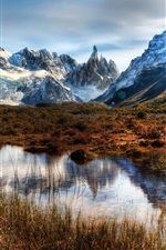 Preview iPhone wallpaper Chile, Patagonia, mountains, rocks, snow, water