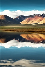 China, Tibet, mountain, lake, water reflection, sky, clouds