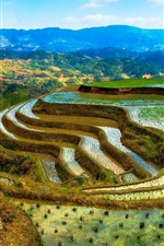 Preview iPhone wallpaper China, terraces, water, mountains, beautiful scenery