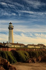 Preview iPhone wallpaper Coast, lighthouse, beach, sea, morning