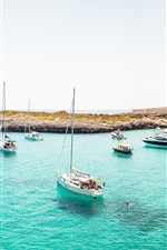 Preview iPhone wallpaper Coast, yacht, boats, ocean, beach