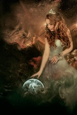 Preview iPhone wallpaper Creative pictures, angel, girl, globe, cosmos
