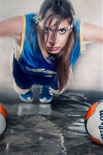 Preview iPhone wallpaper Creative pictures, girl, balls, sport