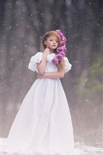 Preview iPhone wallpaper Cute little girl, white dress, snow