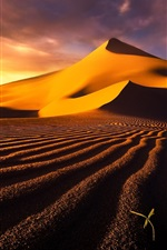 Preview iPhone wallpaper Desert, sand dunes, sky, clouds, hot