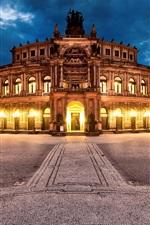 Preview iPhone wallpaper Dresden, Germany, city, night, Semper Opera, lights