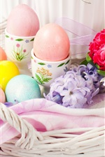 Preview iPhone wallpaper Easter eggs, flowers, decoration, basket