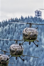 Preview iPhone wallpaper Four helicopters, aircraft, flight