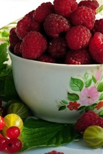 Preview iPhone wallpaper Fruits, raspberries, red currants, gooseberries, bowl