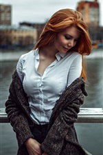 Preview iPhone wallpaper Girl look, red hair, city, river