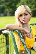 Preview iPhone wallpaper Girl with football