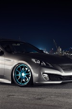 Hyundai Genesis coupe car, city, night