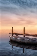 Preview iPhone wallpaper Lake, boat, pier, dusk