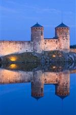 Lake, castle, light, night, reflection, blue