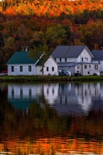 Preview iPhone wallpaper Lake, forest, autumn, houses, water reflection