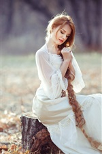 Preview iPhone wallpaper Long hair girl, blonde, stump, autumn