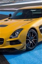 미리보기 iPhone 배경 화면 메르세데스 - 벤츠 CLS 63 AMG 노란색 자동차 전면보기