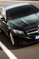 Preview iPhone wallpaper Mercedes-Benz S-Class Coupe, black car, speed