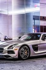 Preview iPhone wallpaper Mercedes-Benz SLS 63 AMG C197 silver car