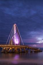 Preview iPhone wallpaper Mexico, ocean, coast, bridge, lights, evening, boats