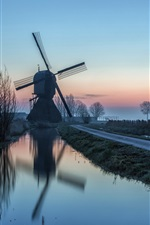 Preview iPhone wallpaper Morning, road, windmill, canal, river, trees, fog