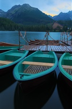 Preview iPhone wallpaper Mountains, forest, calm lake, boat, pier, morning