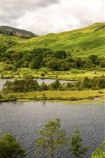 iPhone обои Горы, озеро, трава, деревья