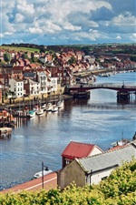 Preview iPhone wallpaper North Yorkshire, England, city, river, bridge, houses, boats