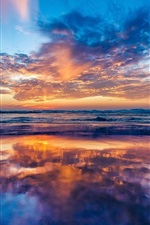 Preview iPhone wallpaper Ocean, coast, dawn, beach, clouds, sunrise