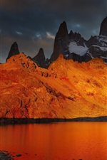Preview iPhone wallpaper Patagonia, Argentina, lake, mountain, dawn, snow