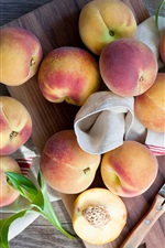 Peaches, fruit, knife