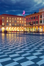 Place Massena, Nice, France, night, buildings, lights