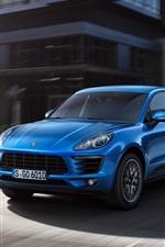 Preview iPhone wallpaper Porsche Macan SUV car, blue, road