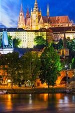 Preview iPhone wallpaper Prague, Czech Republic, Vltava river, city, night, ship, lights