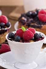 Preview iPhone wallpaper Raspberries, blueberries, cup, cakes