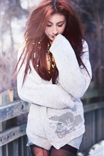 Preview iPhone wallpaper Red hair girl, bridge, winter