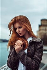 Preview iPhone wallpaper Red hair girl, coat, pier