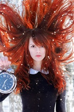 Preview iPhone wallpaper Red hair girl, wind, clock, snow, forest
