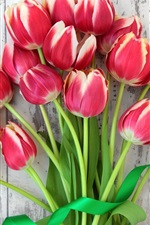 Preview iPhone wallpaper Red tulips, bouquet flowers, ribbon