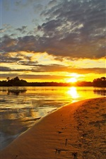 미리보기 iPhone 배경 화면 러시아 풍경, 강, 일몰, 하늘, 구름