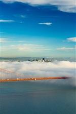 San Francisco, Golden Gate bridge, USA, bay, clouds, fog