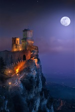 San Marino, fortress, tower, night, light, moon