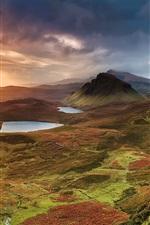 Scotland, ilha de Skye, montes, montanhas, lago, por do sol, nuvens