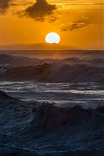 Preview iPhone wallpaper Sea, waves, sunset, nature landscape
