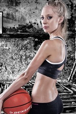 Preview iPhone wallpaper Sport girl, basketball, workout