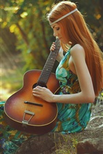 Preview iPhone wallpaper Spring, redhead girl, guitar, forest, sun rays