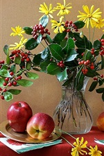 Preview iPhone wallpaper Still life, flowers, vase, cup, apple