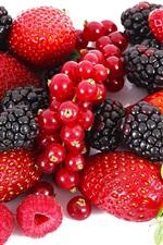 Preview iPhone wallpaper Strawberries, blackberries, raspberries, red berries, fruits