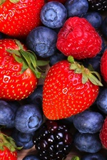 Preview iPhone wallpaper Strawberries, raspberries, blueberries, blackberries, fruits